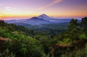 Вид на долину с Вулкана Батур, храмы